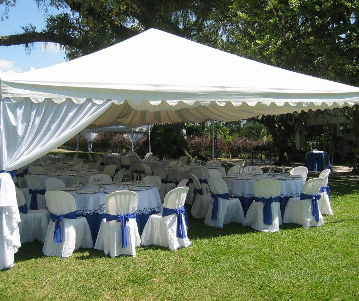 tented wedding reception décor