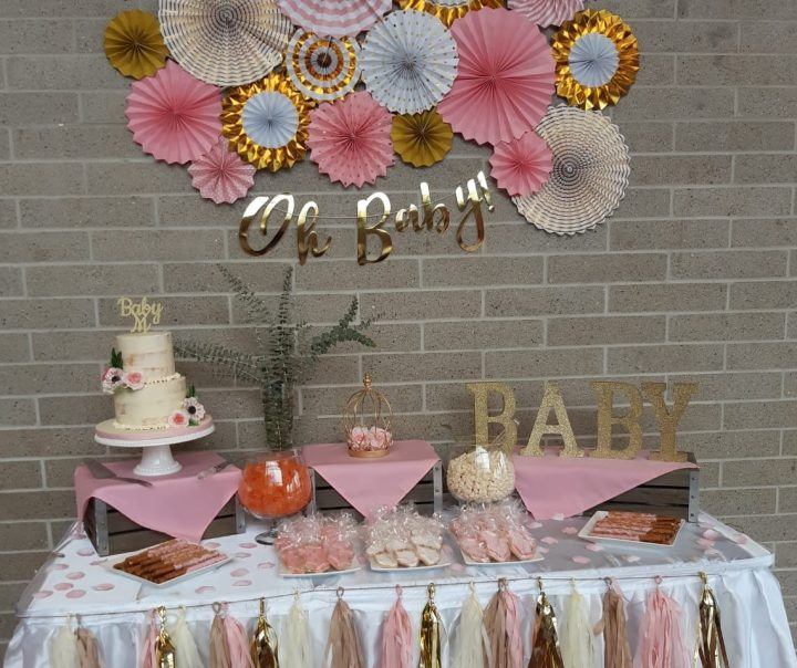 Baby Shower Dessert Table Pink and Gold