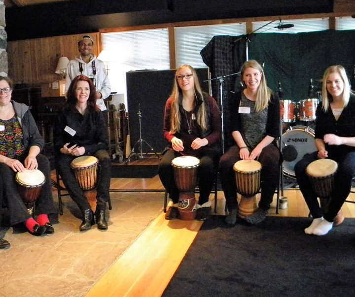 Corporate team building drumming session