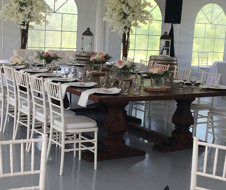 tented wedding head table décor