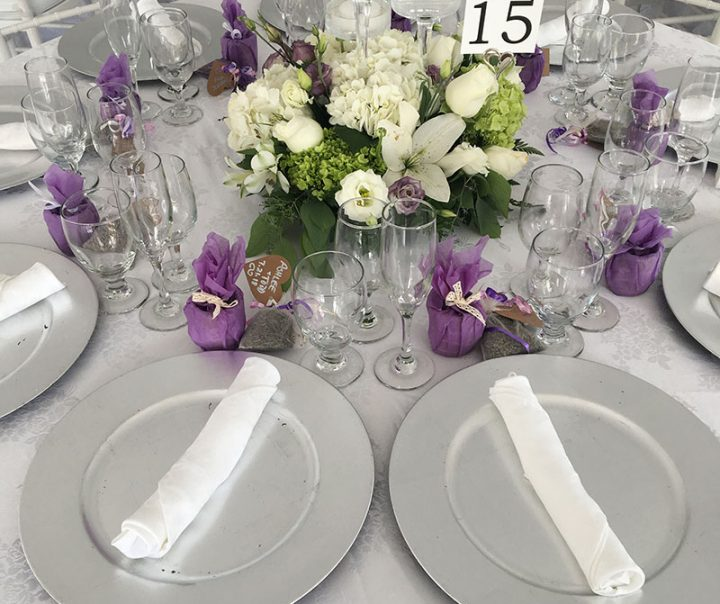 Tented wedding table décor